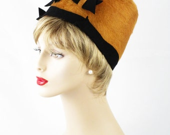 Vintage 1960s Hat Mustard Faux Fur High Crown Pillbox by Betmar Sz 22