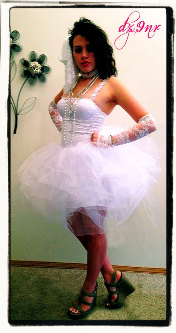 XS only Madonna Like a Virgin- 80s Prom- Bachelorette Party Outfit- Bridal Party- Dancer- Dance Team- Teen Adult Tutu Corset Dress Costume
