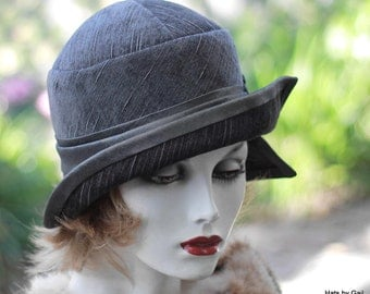Womens 1920s Flapper Cloche Hat Vintage Style Great Gatsby Casual Formal Charcoal Grey Fabric