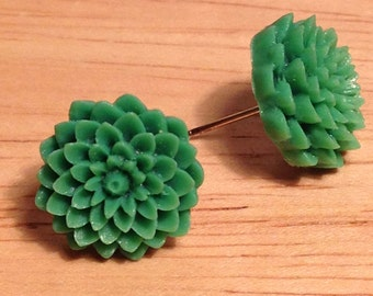 Green flower post earrings
