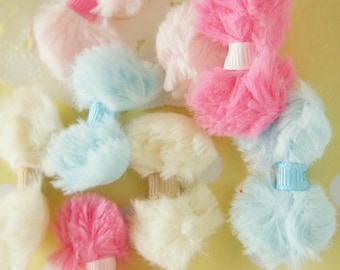 8 pcs Fluffy Bow Motif / Applique (20mm37mm)   MK001