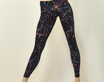 Hot Yoga Fitness Legging Neon Splash Low Rise SXYfitness Brand  Item #8036 Sizes xxs-xxl (00-18 US)