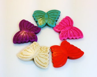 X-Large Howlite Butterfly Bead - Assorted Colors