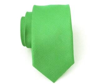 Mens Tie Necktie Skinny Tie - Green Tone on Tone Stripe Skinny Neck Tie