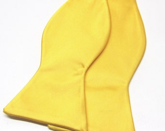 Mens Bowtie. Freestyle Yellow Bowties. Poppy Yellow Bow tie With Matching Pocket Square Option