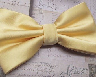 Mens Bowtie. Yellow Bowtie With Matching Pocket Square Option