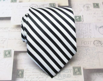 Mens Tie. Necktie Black White Stripes Mens Tie