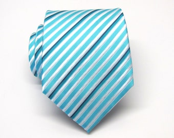 Mens Tie. Blue Tie. Blue and White Stripes Mens Ties