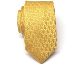 Skinny Tie. Mens Tie. Gold Yellow Skinny Necktie