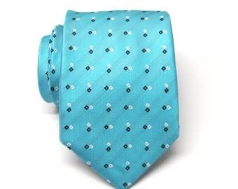 Mens Ties Blue Black White Square Necktie