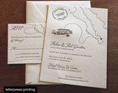 Baja Letterpress or Digital Wedding Invitations - Set of 100