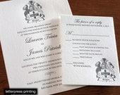 Family Crest Letterpress or Digital Wedding Invitations - Set of 100