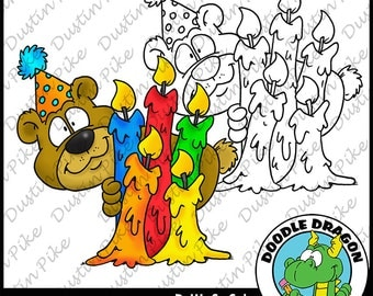 BirthDay Bear With Candles Digital Stamp