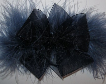 Medium Size Sheer Organza and Marabou Hair Bow in Navy and Denim Blue