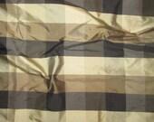 Black Brown Beige CHECK Silk DUPIONI Fabric - fat 1/4