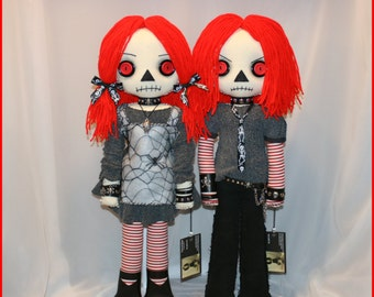 OOAK Hand Stitched Raggedy Ann & Andy Inspired Rag Dolls Creepy Gothic Folk Art By Jodi Cain Tattered Rags