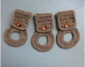 Towel Holders , Crochet Towel Hangers, Housewarming Gift, Home Decor,Removable, Cafe Latte