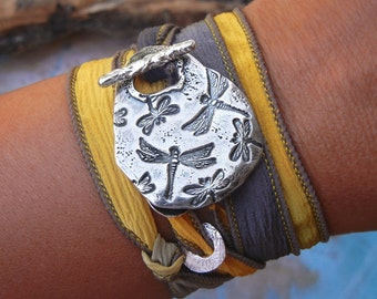 Dragonfly Jewelry Bracelet, Dragonfly Bracelet, Sterling Silver Dragonflies Silk Wrap Bracelet, Original Design by HappyGoLicky Jewelry