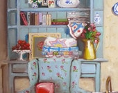 Cottage Painting - Art Print of my Original Artwork - Fabric - Quilting - Interior - THE QUILTER'S COTTAGE