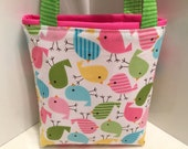 Birdies, Easter Basket, Toddler Tote Bag, Easter Egg Tote, Children, Candy, Holidays, Birthday, Gift Wrap, Spring Gift Bag, Birds, Chicks