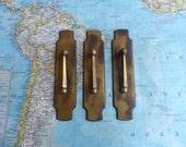 SALE! 3 slim 60's distressed brass metal drop pulls w/ slim trimplates