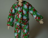 Modern Pyamas / pajamas / PJ's / sleep wear for Christmas - wearable 1/12th scale dollhouse miniature fashion