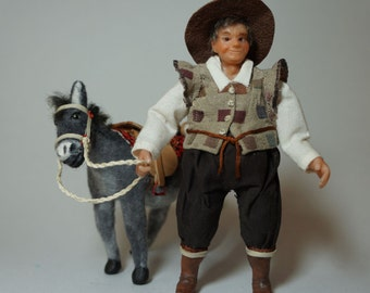 Sancho Panza and Dapple, the donkey ooak 1/12 scale miniature dollhouse CWPoppets