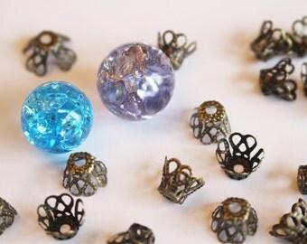 20 Antique Bronz Iron Bead Bell Caps Filigree Flower Findings