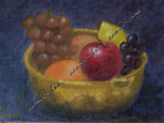 Fruit bowl -An original oil painting 8 x 11