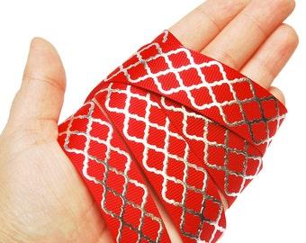 5 Meter 7/8 Silver Foil Geometric grosgrain ribbon . 22mm red and silver metallic meter printed ribbon . 5 yards . ref400688
