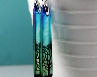 tree earrings, bottle green sky, super skinny earrings, resin earrings, blue green earrings,  gifts under 20