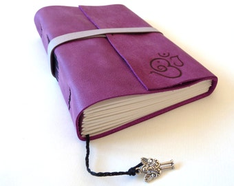 FREE SHIPPING, Personalised Leather Journal, Strong Purple, Magenta