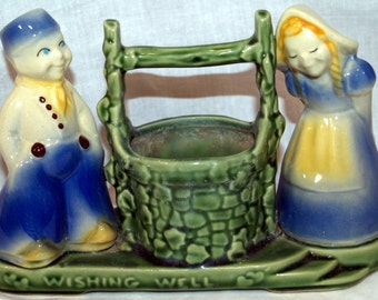 Vintage Shawnee Dutch Girl and Boy at Wishing Well Planter, #710
