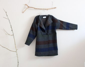 flap collar gray stripes wool jacket ready to wear / wool wrap jacket /