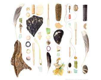 Beachcombing series No.80 - 12 x 12 photograph - feathers, beach stones, sea glass, seashells