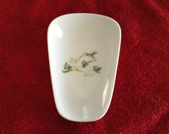 """Ceramic Spoon Rest with a Humming Bird Magnolia  5"""" Long And 3 1/2 Inches wide at Top of Spoon"""