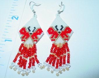 Red & White beaded Delica Bead  Butterfly earrings