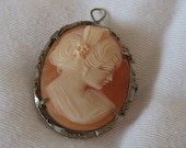 ANTIQUE Carved Profile Head Cameo Jewelry Brooch & Necklace Pendant