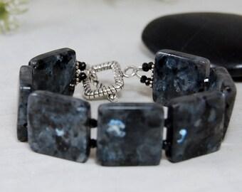 REDUCED Flashy Black Labradorite Bracelet Cuff Blacelet Sterling Silver