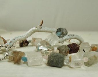 SALE! Chunky Rutilated Quartz Necklace Morganite Beryl Choker