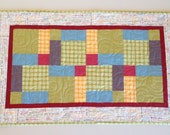 Make Life... Table runner quilt - 20 x 32 - tablerunner - quilted - modern decor - avocado green, blue, red, gold