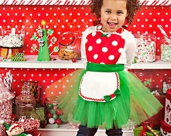 CHRISTMAS MINNIE MOUSE apron kids tutu Dress up apron red  Polka Dots Christmas apron for girls