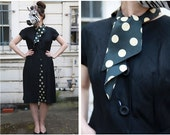 Vintage 50s/60s Black and White Silk Polka Dot Wiggle Dress with Pussy Bow Scarf and Peek-a-boo Pleated Skirt with Pockets | Large