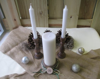 Christmas Winter Holiday Monogram Rustic Wood Candle Set - Item 1620
