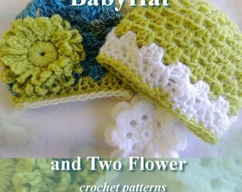 Pattern  - SUPER Fast Crochet Baby Hat  in Three Sizes plus Flowers