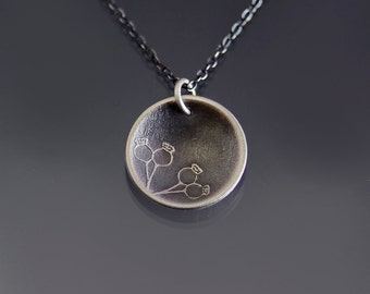 Small Poppy Pods Necklace - etched sterling silver - nature jewelry