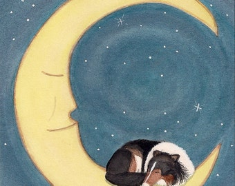 Tri-color collie sleeping on moon / Lynch signed folk art print