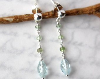 Sky Blue Topaz Earrings with Tourmaline in Solid Sterling Silver