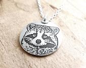 Silver raccoon necklace, raccoon jewelry