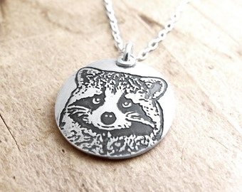 Silver raccoon necklace, raccoon jewelry